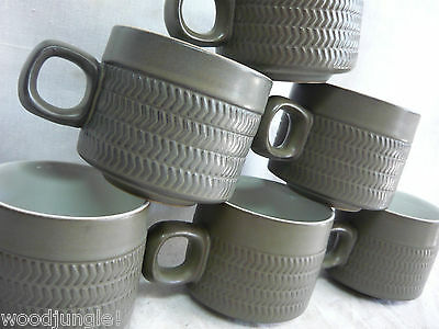 6 Vintage DENBY ENGLAND BROWN CHEVRON COFFEE CUPS MID CENTURY MODERN retro
