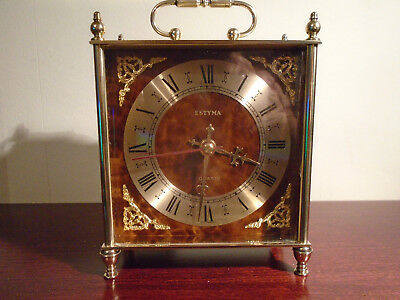 Vintage Estyma Brass Made In Germany Carriage clock in Great Working Condition