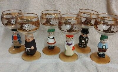 6 Vintage Goebel Hummel Porcelain Black Forest Etched Grape Wine Glass Goblets