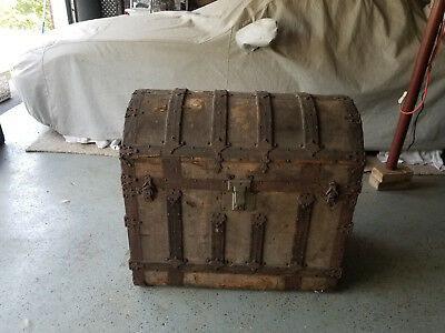 Antique Wooden Victorian Humpback Dome Steamer Trunk