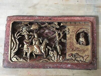 Antique Chinese Wooden Carved Figures and Horse Relief Wall Picture