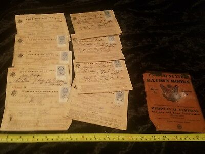 ~~VINTAGE LOT OF 9 WW2 US WAR RATION BOOKS WITH STAMPS - Many w/ no stamps