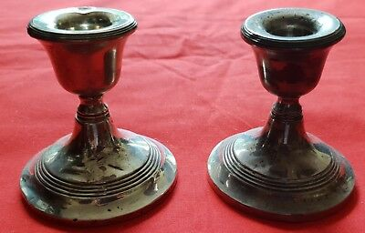 Nice pair of small fully hallmarked sterling silver candlesticks