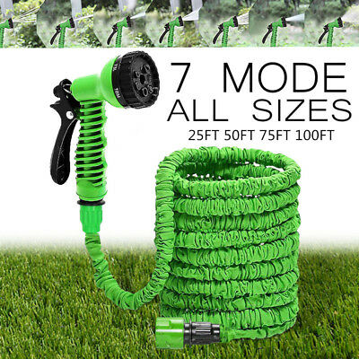 Latex 25 50 75 100 FT Expanding Flexible Garden Water Hose with Spray Nozzle USA