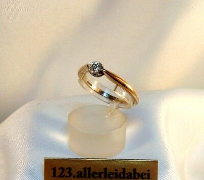 älterer Diamant Ring 585 Gold Rotgold Weißgold 0,35 ct Goldring / BH 512