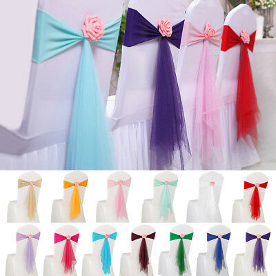 10/20x Spandex Stretch Wedding Party Chair Cover Band Bow Sashes w/ Flower Decor