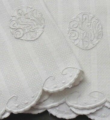 "Pr Huck Damask Linen Guest Hand Towels Hand Embroid ""SSM"" Mono & Scalloped Ends"