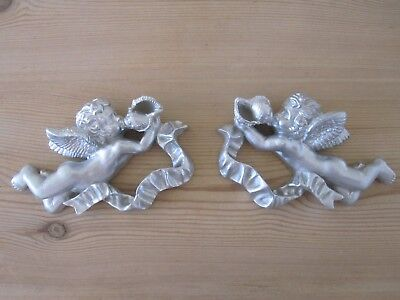 Two Shabby Chic French Country Style Ornate Cherubs / Wall Plaque/Project.