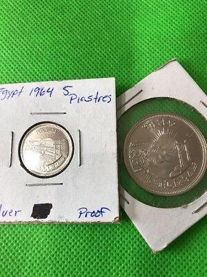 1964 Egypt 10 And 25 Piastres Proof Silver World Coins