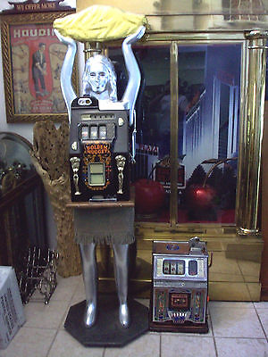 Figural Golden Nugget Mills Slotmachine Carved Figure,w/nugget, 7'Tall