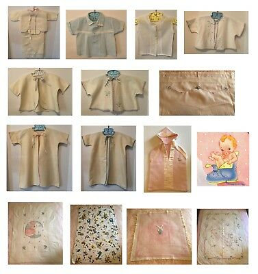 Lot of ViNTAGE 1940's - 50's BABY CLOTHES & BLANKETS Flannel Embroidery