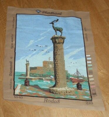 DEER SYMBOL OF RHODES - COMPLETED NEEDLEPOINT TAPESTRY DIAMANT 50cm x 38cm
