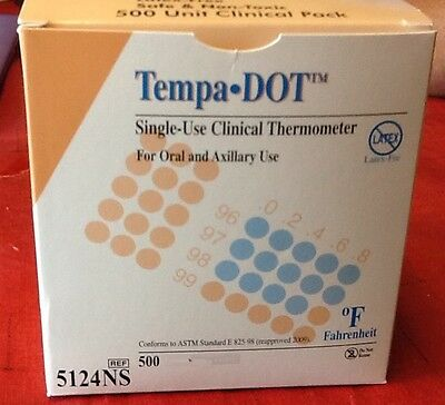 Tempa Dot Thermometer Single Use 500 Pieces new 2 boxes per order new disposable