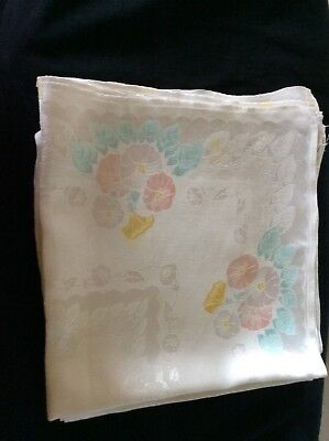 vintage Damask table napkins with coloured flowers