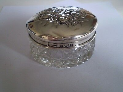 An Fine Antique Reynolds Angels Top Solid Silver Cut Glass Rouge Vanity Jar Pot