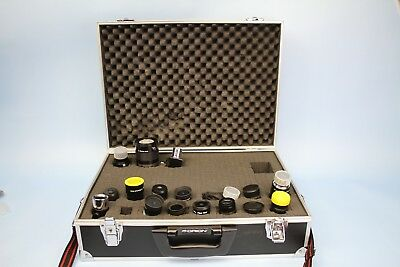 "Lot of 17 Telescope Eyepieces Meade Celestron Orion Zhumell Orion Case 2"" 1-1/4"""