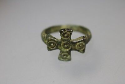 BYZANTINE BRONZE RING With CROSS 6th - 8th AD.