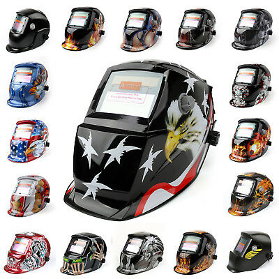 Solar Powered Auto-Darkening Welding Helmet Grinding TIG Welder Mask Hood,