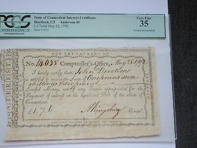 State of Connecticut Interest Certificate, 1792, PCGS Very Fine 35