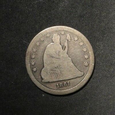 1861 Seated Liberty Quarter 25¢- VG