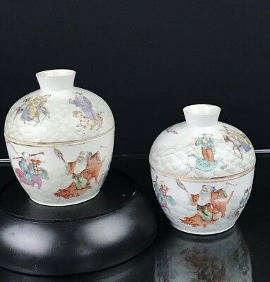 Stunning Antique Chinese Porcelain Lidded Cups With Immortals & Riding Animals