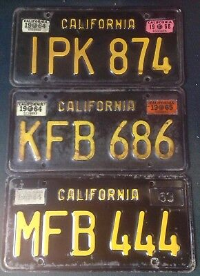 LOT of (3) 1963 to 1969 California Black &Yellow Collectible License plates