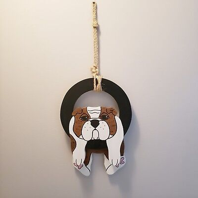 Custom Made Bulldog Hanging Wall Decor - Coated Solid Wood - Indoor/outdoor