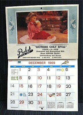 1970 Probst Milk Dairy Home Delivery Calendar Lawrenceburg & Aurora In Old Stock