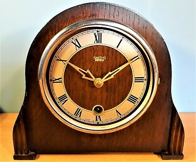 Vintage Smiths Enfield 8 Day Mantel Clock, Good Working order