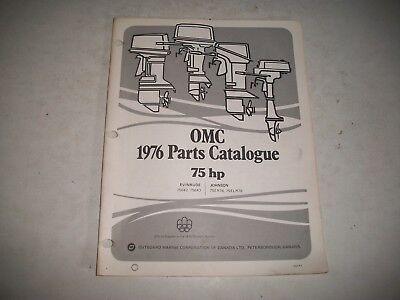 1976 Evinrude & Johnson 75 Hp Outboard Engine Illustrated  Parts Catalog