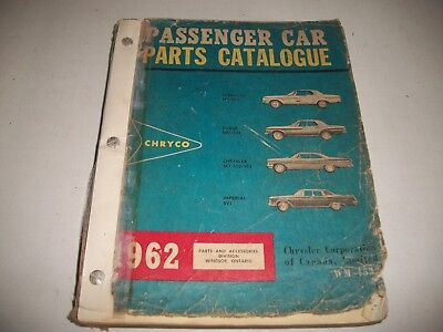 """1962 Dodge Chrysler Plymouth Imperial """"s"""" Series Original Parts List Catalog"""