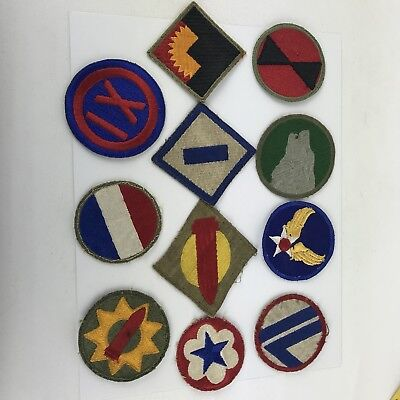 WW2 Military Patch Lot Of 11 Embroidered