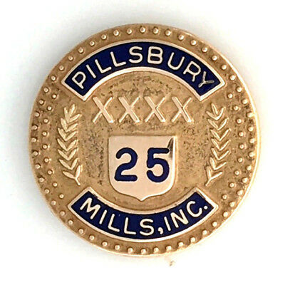 Vintage Pillsbury Mills, Inc. 10K Yellow Gold 25 Year Employee Service Award Pin