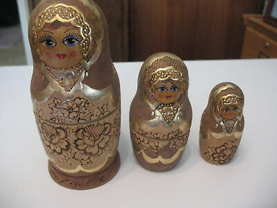 1993 Wooden Nesting Dolls, 3 pcs, hand painted, 7""