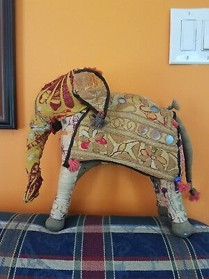 Vtg Embroidered Indian Rajasthan Stuffed Elephant Standing Figure India
