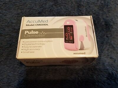 AccuMed Pulse Oximeter Sp02 Blood Monitor-Wrist Cord-Bag-Batteries FDA CE - PINK