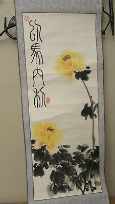 "Vtg Hand Painted Scroll w/Yellow Peony Flowers Signed 37"" long with Box"