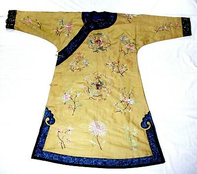 Antique CHINESE MANCHU GOLD SILK COURT ROBE  Embroided dragons flowers