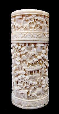 19TH C. CHINESE  CANTONESE CYLINDER BOX bovine CARVED IN HIGH RELIEF