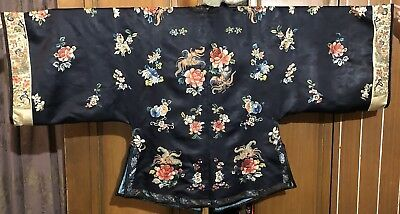 Antique Chinese Qing Dynasty Hand Embroidery Silk Robe Sleeve Bands Flowers
