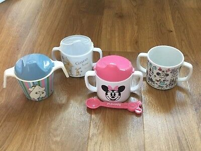 Baby Girl - First Character Sippy Cups x 4 (Minnie Mouse/Moomin) - Hardly Used