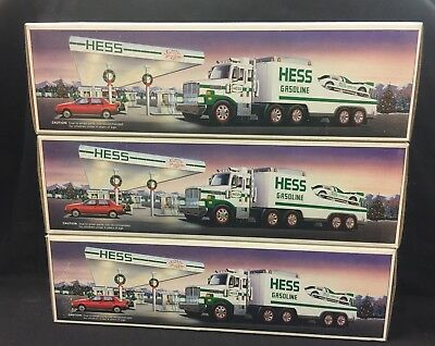 1988 HESS TOY TRUCK and RACER  New in Box Head and Tail Lights