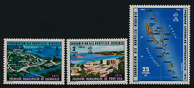 New Hebrides FR 227-9 MNH Map, Architecture, Representative Assembly