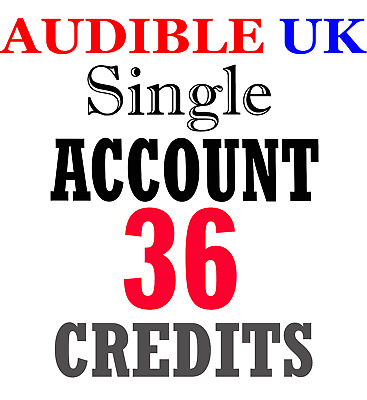 NEW Audible ACCOUNT with 36 credits prefilled for UK region