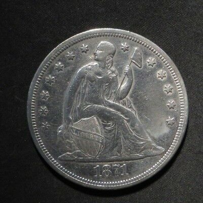 1871 Seated Liberty Dollar $1- XF Cleaned