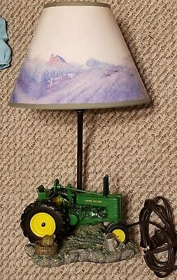"Vintage 1999 John Deere Tractor Lamp with Farm Scene Shade 16"" Tall"
