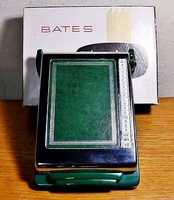 Vintage NEW Bates Cavalier Art Deco List Finder Chrome & Jade Green Orig Box