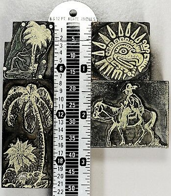 MEXICO, TRAVEL, VACATION - Lot - Vintage Letterpress Type Cuts Printer Blocks