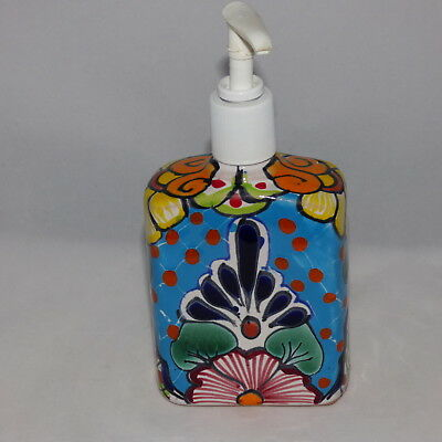 "Mexican Talavera Soap Dispenser Ceramic Pottery 7"" Tall 8 Oz. Sq. Floral By D.h."