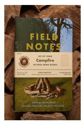 Field Notes CAMPFIRE Sealed Pack of 3 memo books + Patch FAST FREE SHIPPING NEW